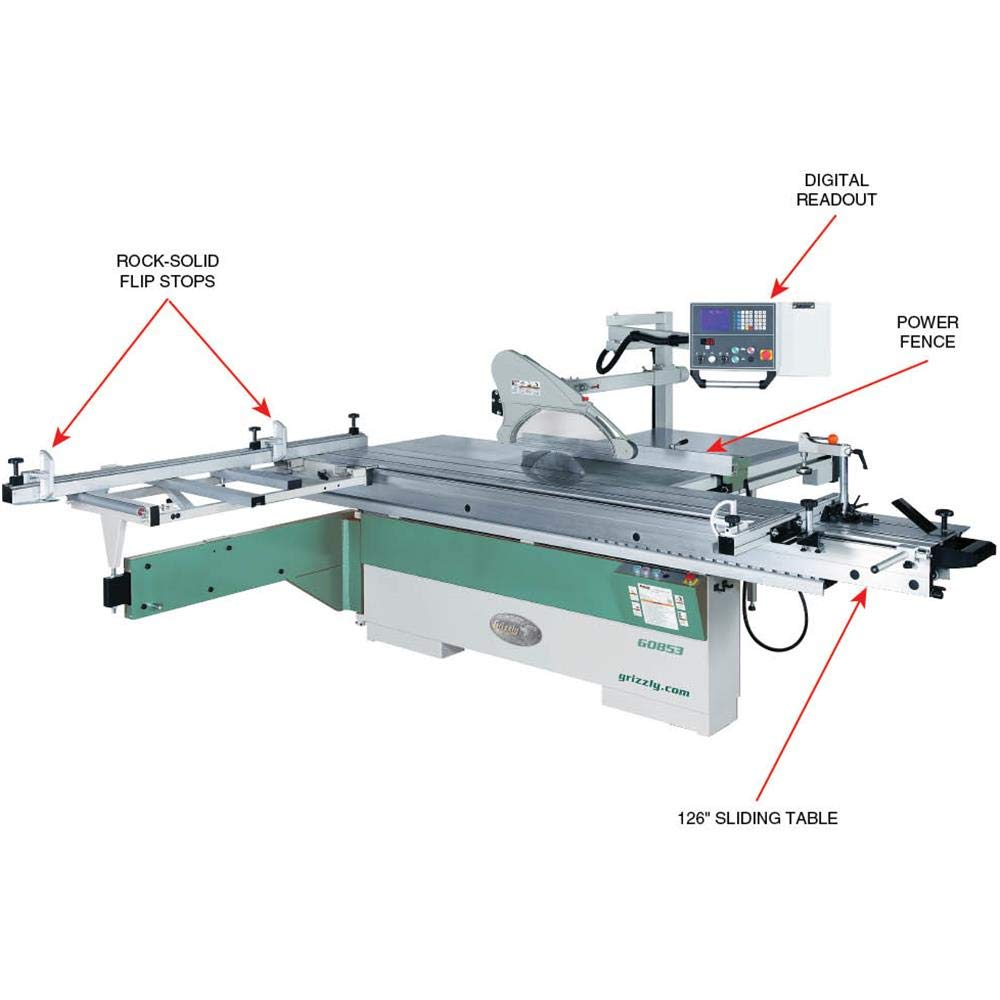 Grizzly G0853 1434 10 Hp 3 Phase Sliding Table Saw Ct